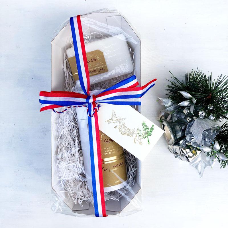 ホワイトティーの香りのギフトセット(ハンドクリーム・石鹸)ギフトラッピング・手提げ袋つき|サンタールエボーテ|フランスブランド|南仏プロヴァンス<母の日・プチプラプレゼントにおすすめ><乾燥対策・保湿に>
