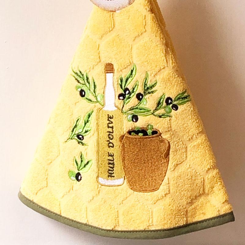 南仏プロヴァンス円形タオル・オリーブオイルボトル・イエロー<南フランス雑貨>70�