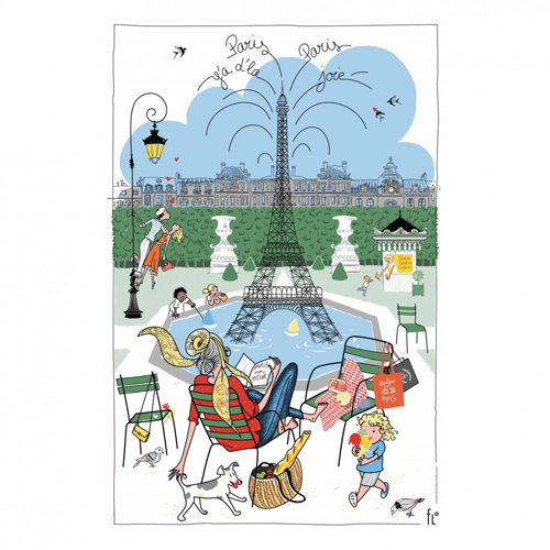 パリの公園の噴水とエッフェル塔・ティータオル|フランス輸入雑貨・キッチンクロス・テーブルクロス・ポスター・お皿の水切りに