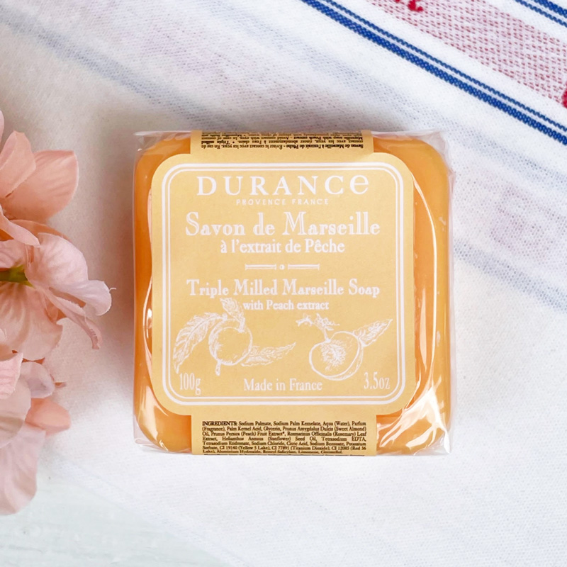 フランス製固形石鹸|ピーチ・桃の香り<南仏プロヴァンスブランド・デュランスDURANCE>プチプラプレゼントにおすすめ