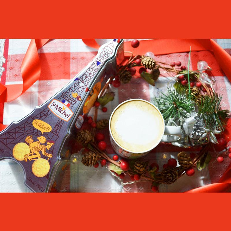 星の王子様マグカップ・バラの王子様とカフェオレ専用コーヒーとサンミッシェルのエッフェル塔缶クッキー<星の王子様グッズ><ギフト3点セット>