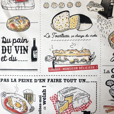 チーズ料理のフランス製ティータオル<かわいいフランス輸入雑貨>