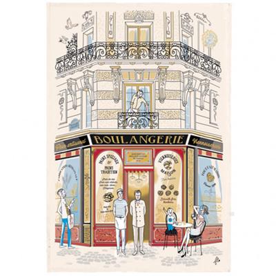フランス製ティータオル ブーランジェリー・パリのパン屋さん かわいいフランス輸入雑貨・ファブリックポスター<レターパックライトOK>