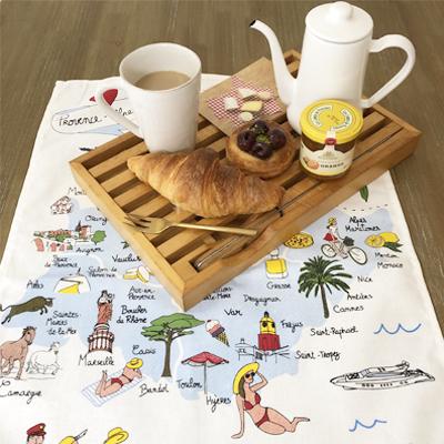 フランス製ティータオル 楽しい南フランスの観光地図 かわいいフランス輸入雑貨<レターパックライトOK>