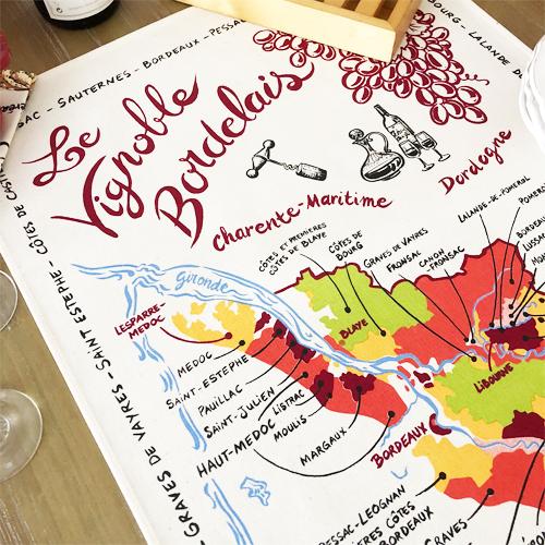 ティータオル│フランス・ボルドー地図│【フランス雑貨ワイングッズ/ポスター】