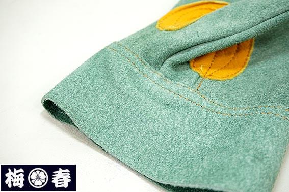 【梅春いちや オリジナル】吟当て付き SSS級 オイル革手 特殊なめし加工 <BR>床 皮手なのに柔らかい。使うほどに手に馴染む。<BR>(作業用革手袋 皮手 やわらかい皮手 )