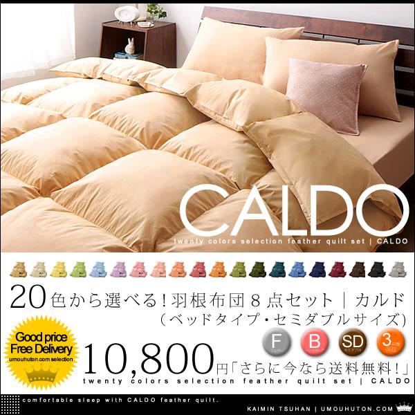 20色から選べる! 羽根布団 8点セット|カルド ベッドタイプ セミダブル サイズ【送料無料】