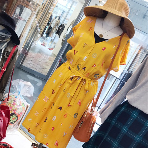 【SALE】 12800→8960 NICE THINGS/Vネックレタードワンピース