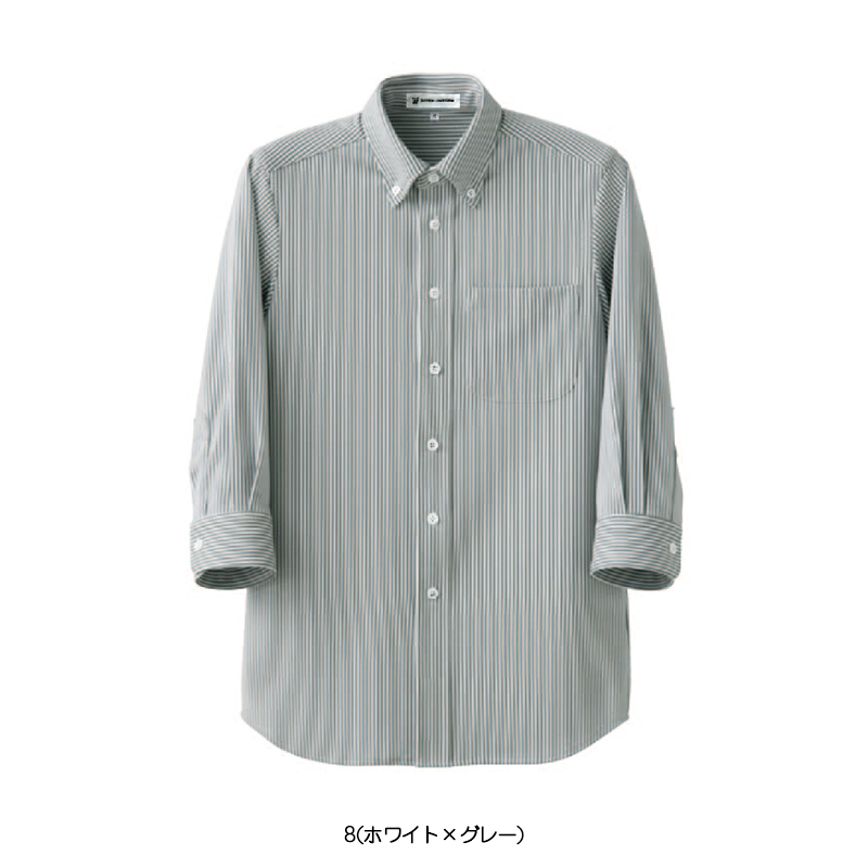 七分袖ボタンダウンニットシャツ ストライプ [男女兼用] CH4498