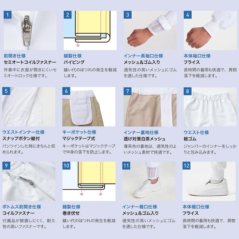 高温作業場向け ホッピングパンツ/工務服 [男女兼用] HACCP ハサップ CD-694