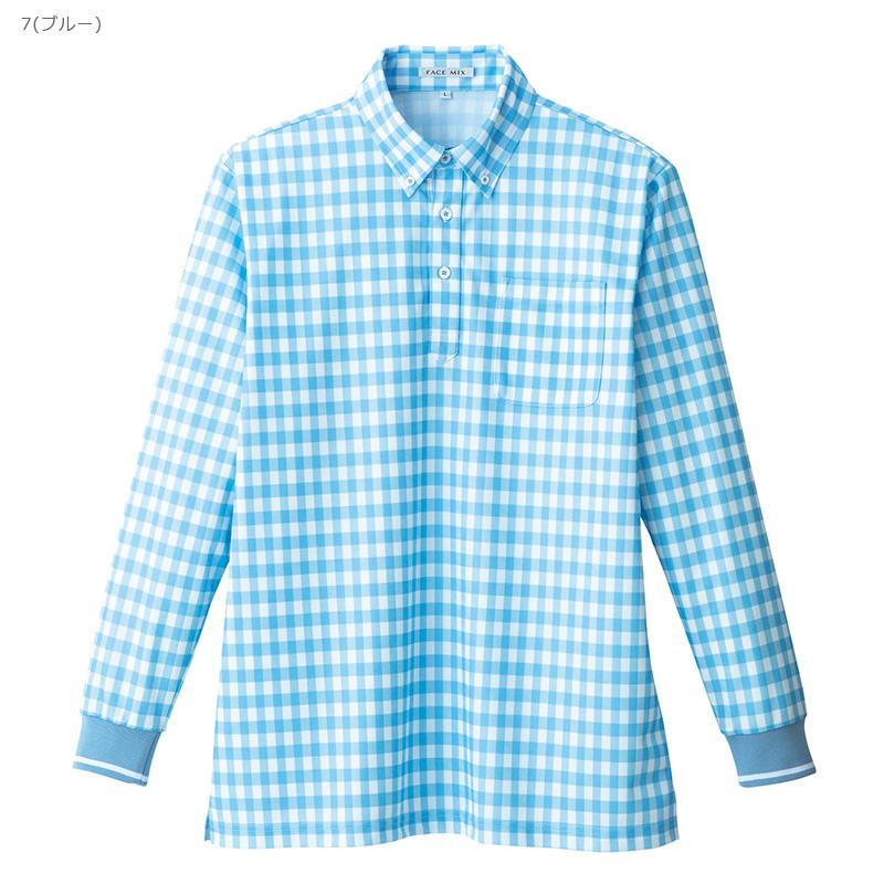 【アウトレット】チェックプリントポロシャツ 長袖 [男女兼用] OL_FB4536U