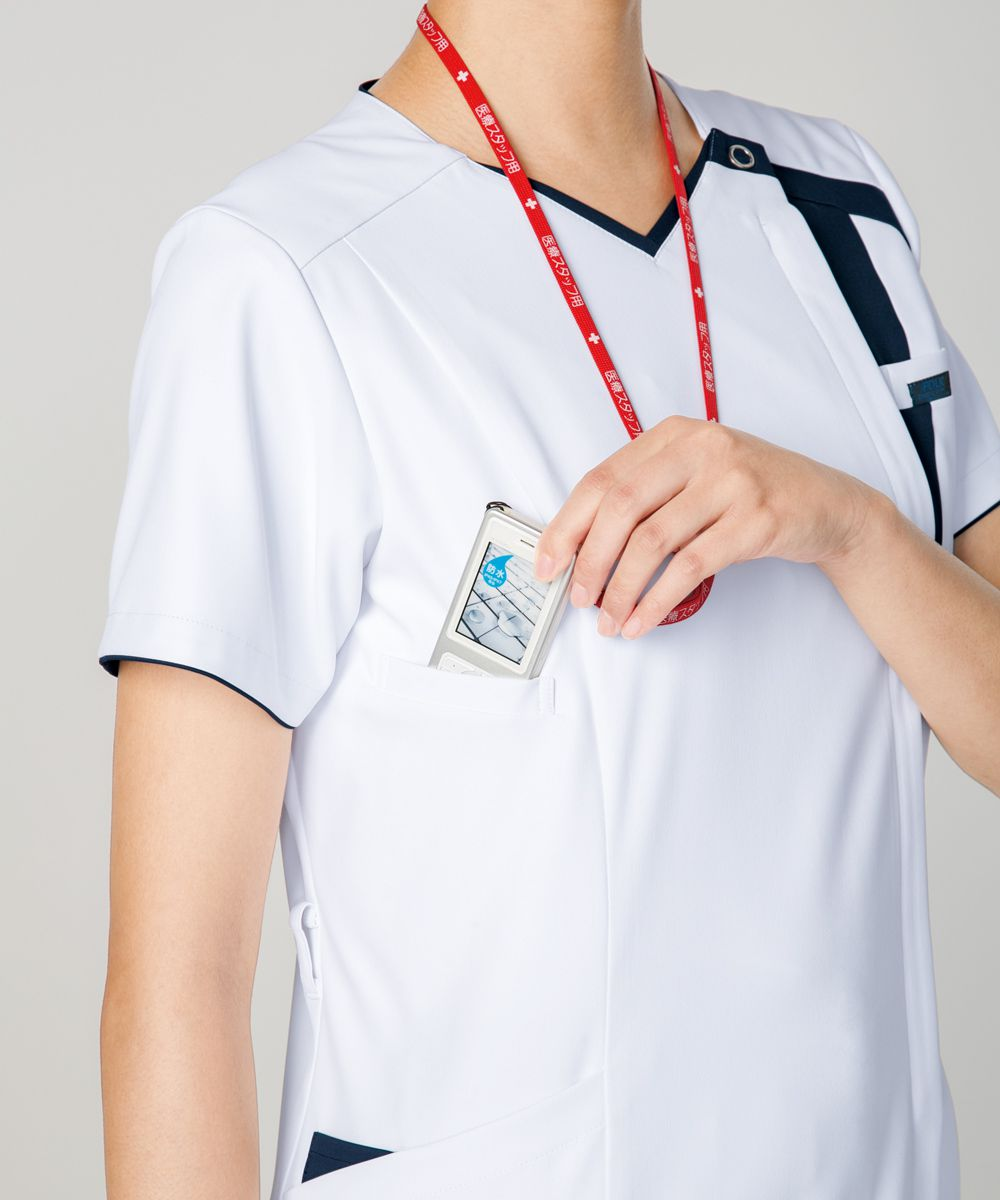スクラブ FOLK ジップスクラブ 7052SC ユニフォーム 医師 ナース服 チームスクラブ クリニック ドクター 医療 美容 介護 看護 整体 ストレッチ おしゃれ 介護服 手術着 医療用 制服