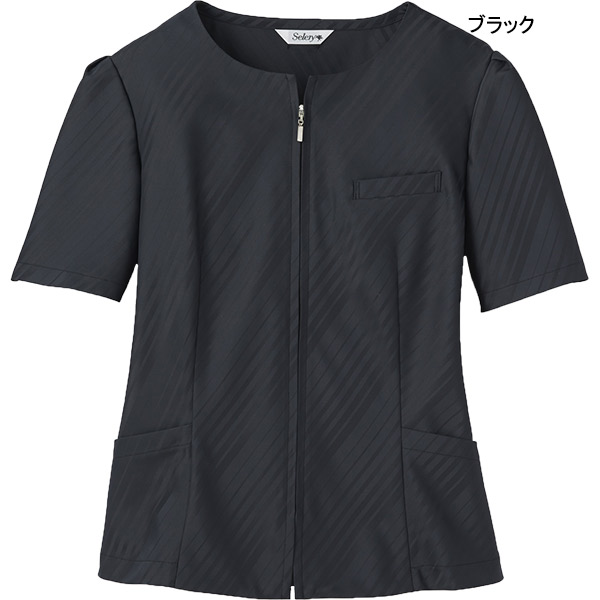 【5〜15号】受付・営業職 オーバーブラウス S-50950 50951 エコロジカルストライプ セロリー