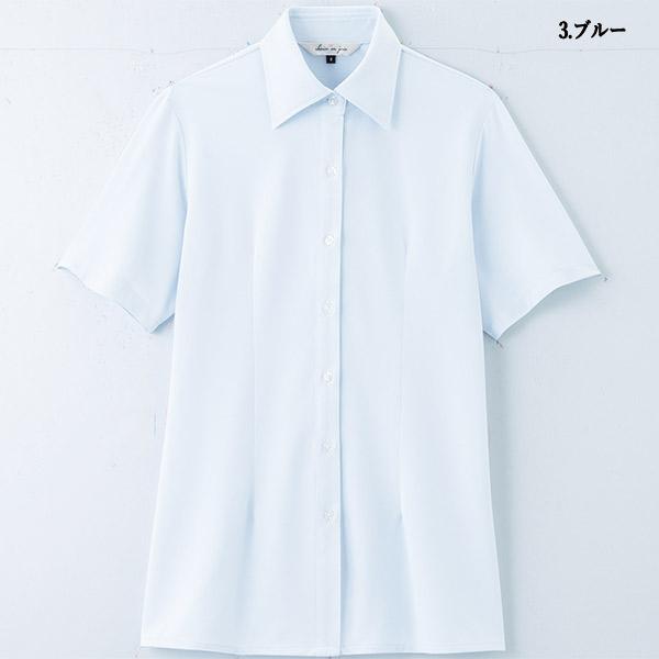 事務服 半袖ブラウス 半袖シャツ 06215 ブライトドットニット アンジョア