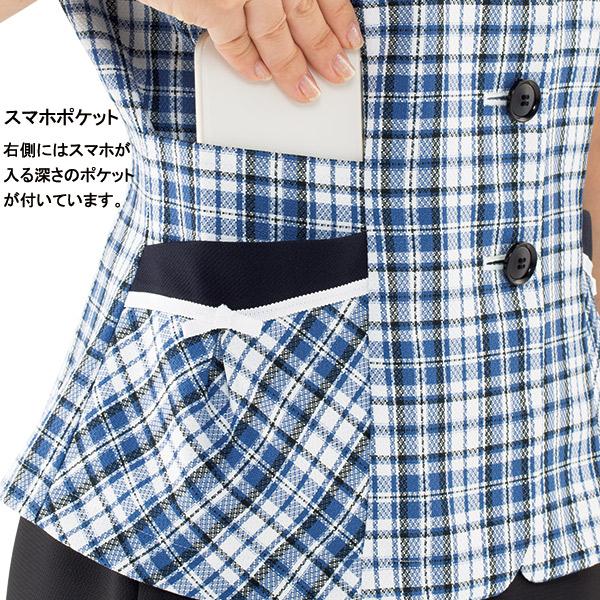 【清涼感】事務服 オーバーブラウス AJ0848 カルムチェック ボンオフィス