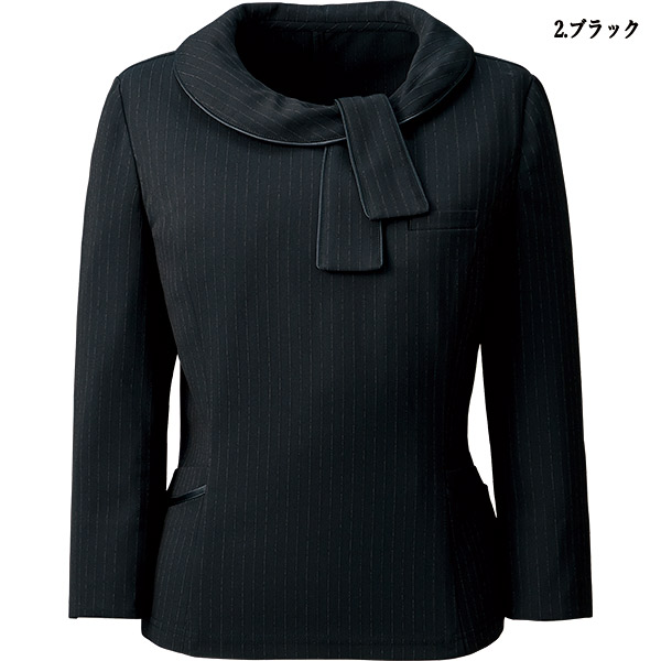 【オールシーズン】事務服 七分袖プルオーバー AR4886 ミスティストライプ アルファピア