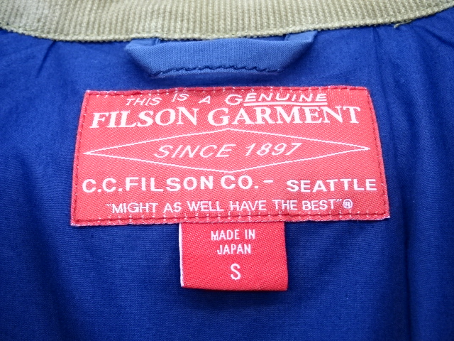 FILSON RED LABEL SOUTIEN COLLAR COAT NAVY フィルソン 襟コーデュロイ ステンカラーコート 大名店【中古】