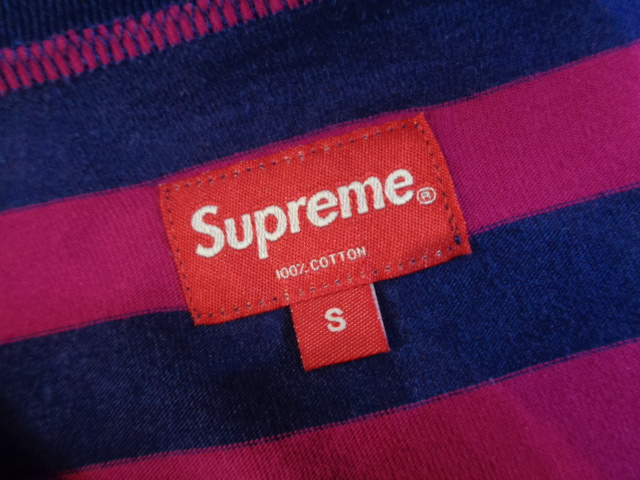 Supreme シュプリーム 15ss Old English Striped Top ボーダーTシャツ ネイビー/ピンク サイズS 大名店