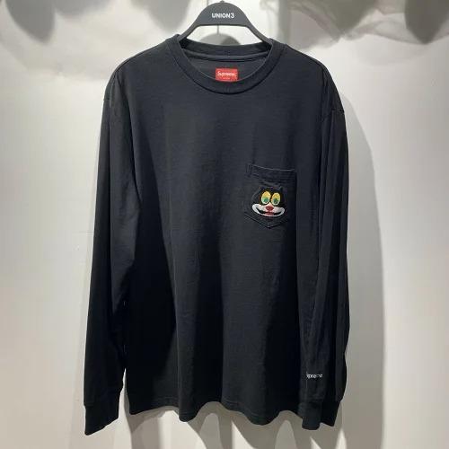 SUPREME シュプリーム 19aw Cat L/S Pocket Tee キャット 刺繍 ポケット ロンT Tシャツ 心斎橋
