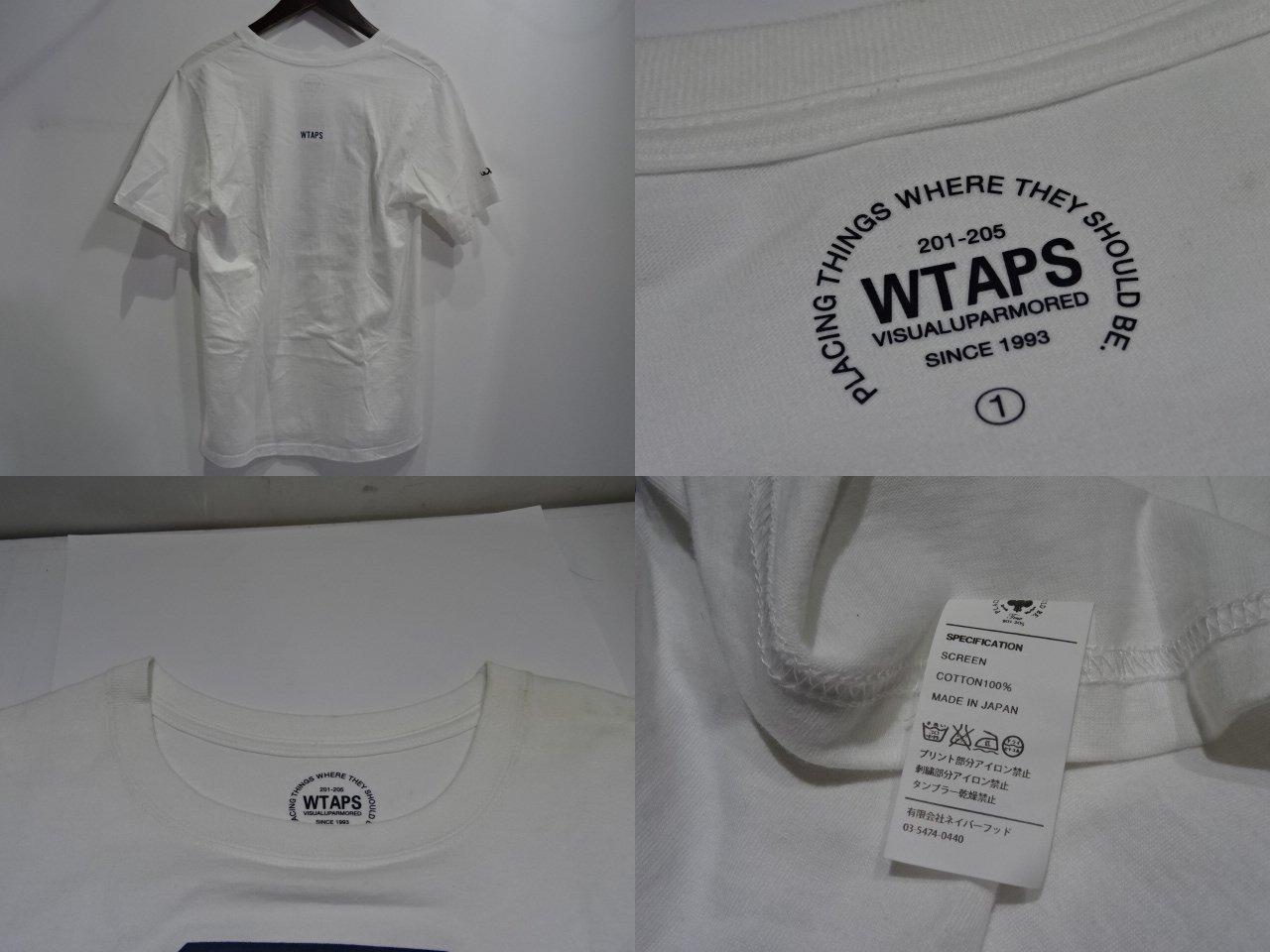 """WTAPS ダブルタップス16ss""""KAMON/SCREEN S/S TEE"""" Size-1 Tシャツ T-SHIRT 白 ホワイトブランド古着【中古】"""