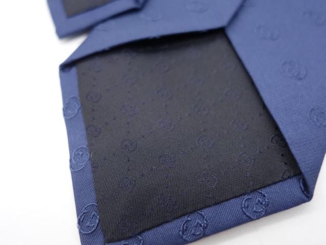 GUCCI GG SILK NECKTIE グッチ シルク ネクタイ イタリア製 ネイビー 大名店【中古】