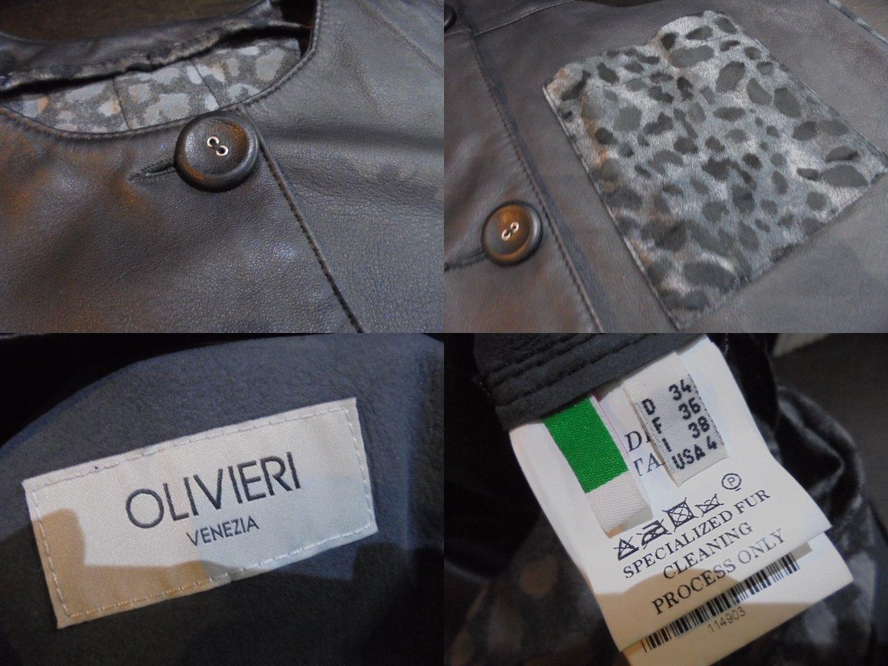 olivieri オリヴィエリ5/S ノーカラー.レオパード切替レザーコート サイズ38ブランド 古着 ブランド古着【中古】