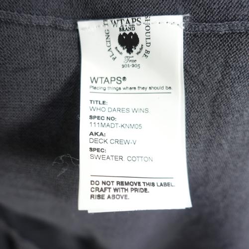 WTAPS DECK CREW-V SWEATER.COTTON ダブルタップス デッキ クルーブイネック セーター コットン 大名店【中古】