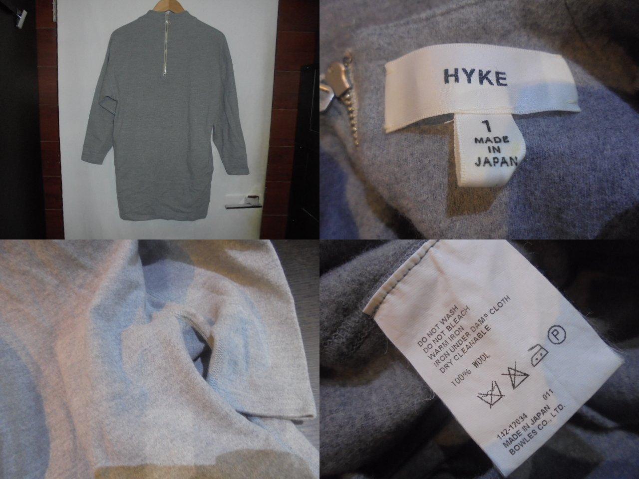 HYKE ハイクL/S バックジップ.ウールワンピース[GRAY] サイズ1ブランド古着【中古】