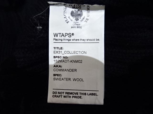 """WTAPS ダブルタップス15aw """"COMMANDER SWEATER WOOL"""" Size-S 152MADT-KNM02 コマンダー セーター ニット ウール BLACK ブラック 黒ブランド古着【中古】"""