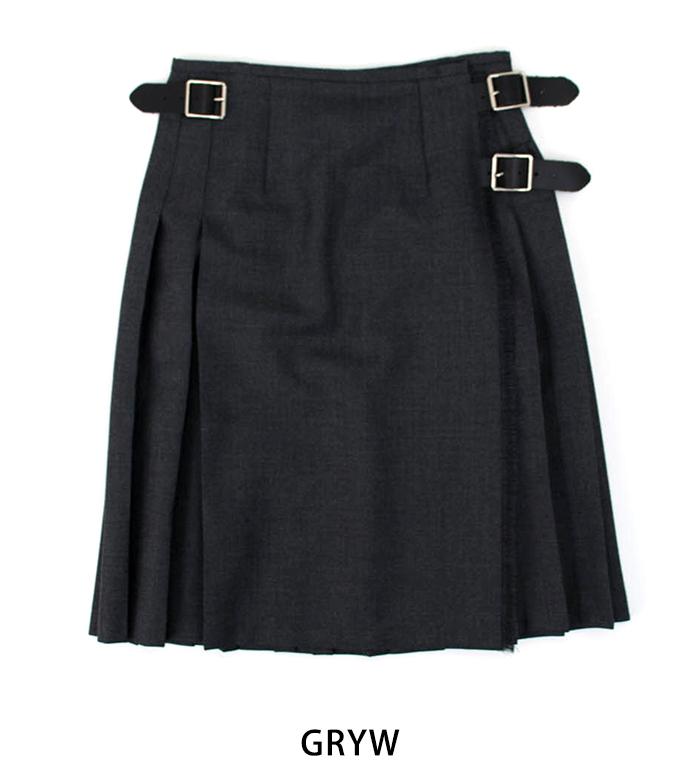 O'NEIL OF DUBLIN オネイル/オニールオブダブリン 100%WORSTEDWOOL プリーツラップスカート[124]【BASIC】