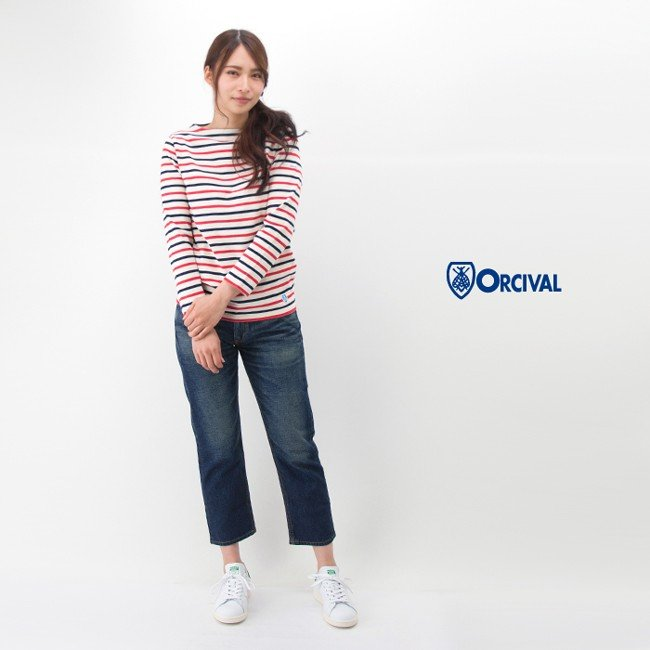 ORCIVAL オーシバル レディース COTTON LOURD STRIPE バスクシャツ L/S トリコロール[B211]【BASIC】