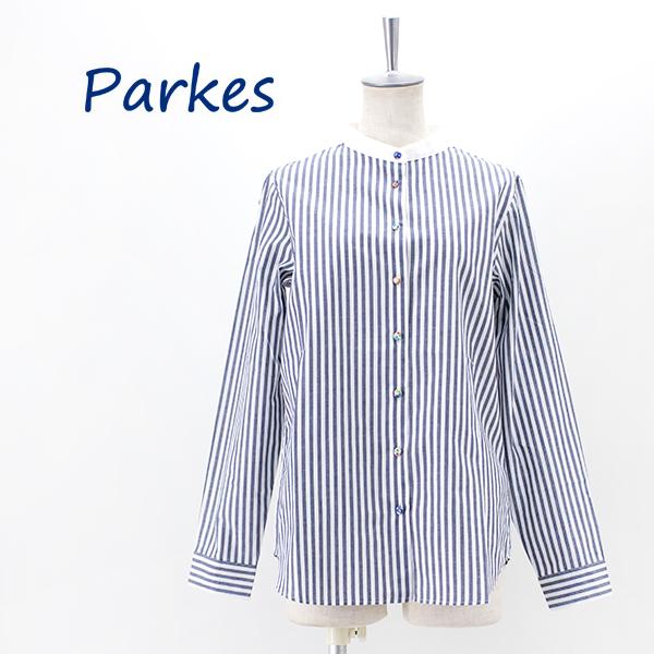 Parkes パークス レディース バンドカラーストライプシャツ[PN2132003]【2021FW】