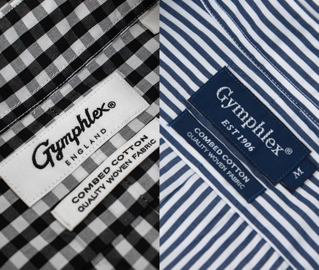 Gymphlex ジムフレックス メンズ ボタンダウン ストライプ/ギンガムチェック シャツ[J-0643TSS]【BASIC】