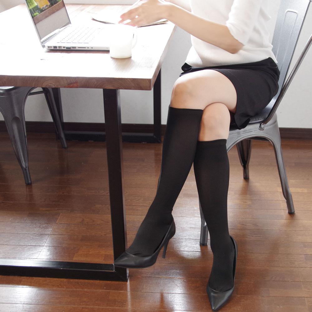 美脚なでしこ オフィス着圧ハイソックス BN004BLK-23-25