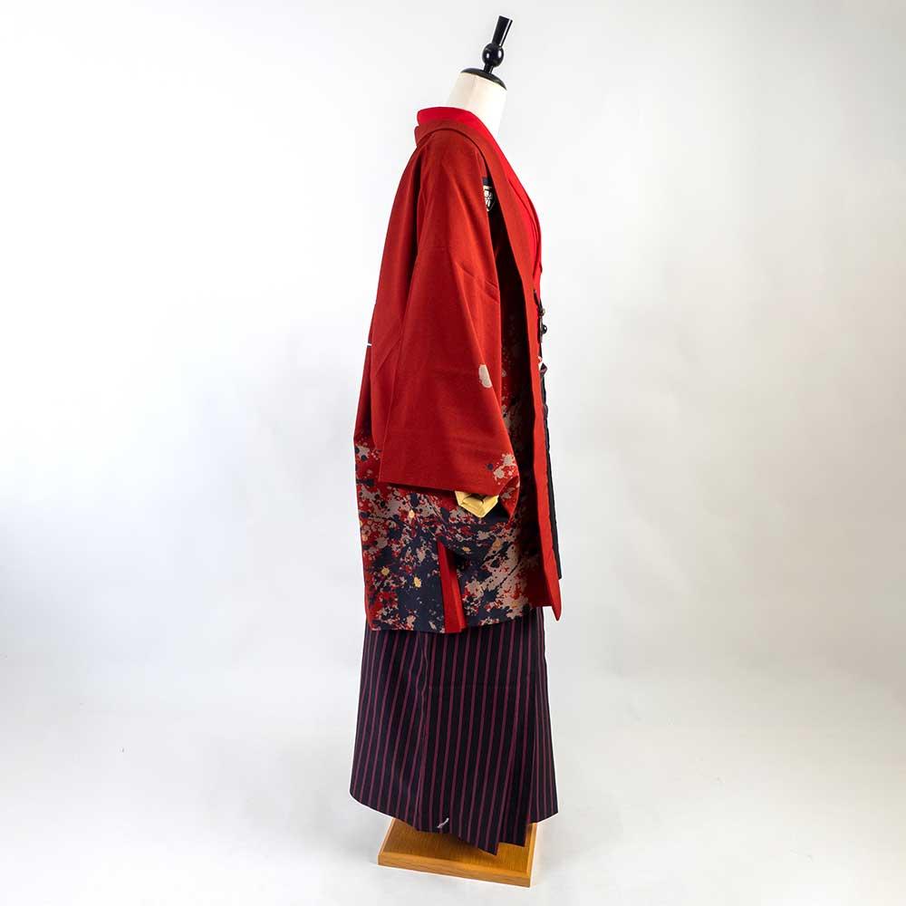 |送料無料|【成人式・卒業式】男性用レンタル羽織袴フルセット-7265