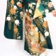 【成人式】 [安心の長期間レンタル]【対応身長155cm〜170cm】【合繊】レンタル振袖フルセット-941|レトロ|花柄|クール系|モダン|緑系|黒