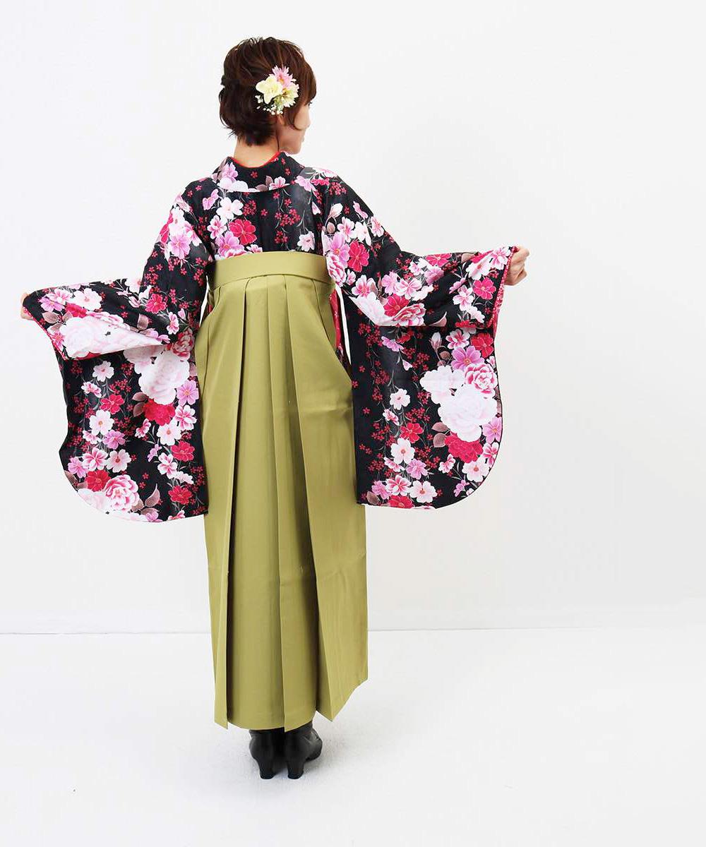 【h】|送料無料|【対応身長157cm〜165cm】【キュート】卒業式レンタル袴フルセット-978|マルチカラー|花柄|牡丹|黒|緑|