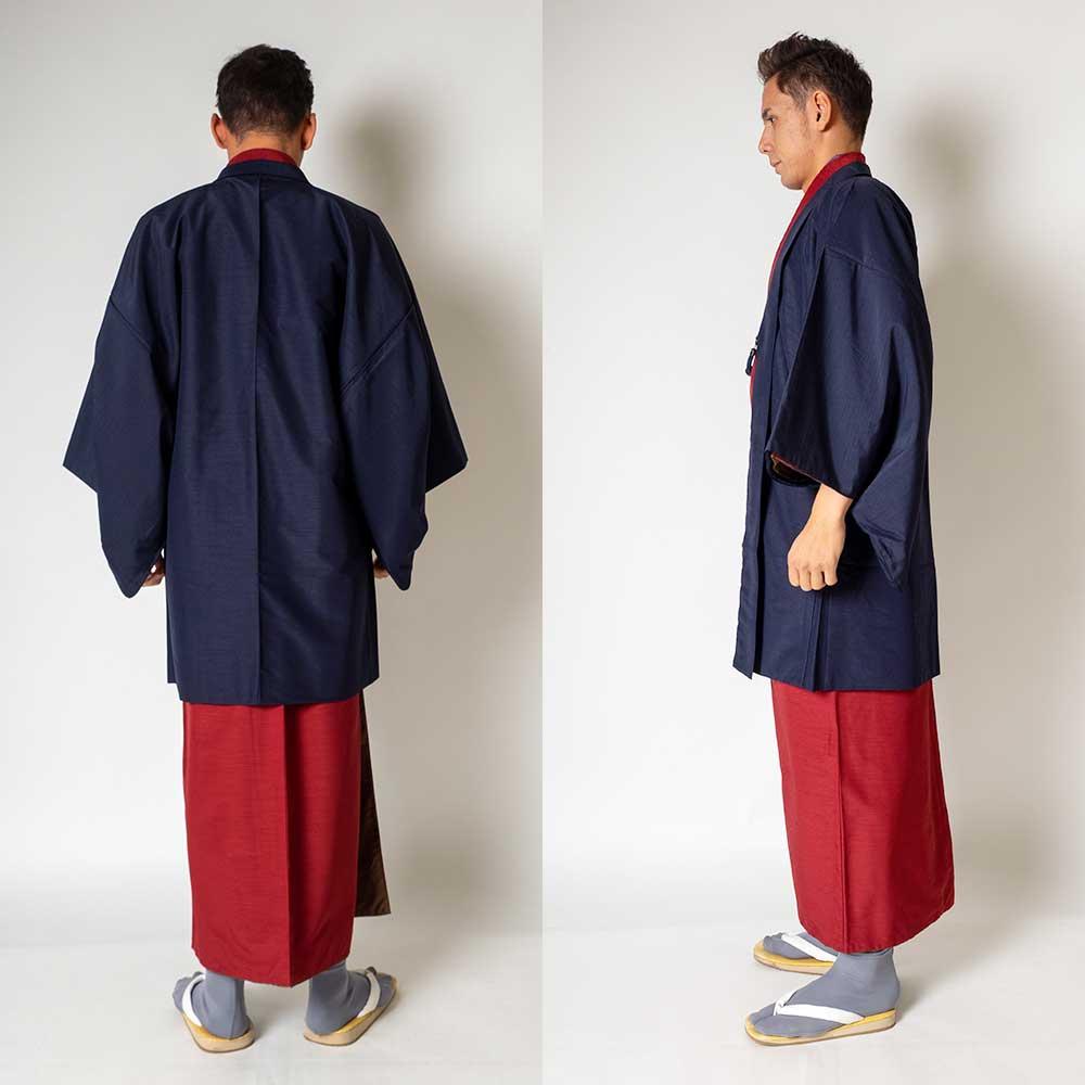 |送料無料|メンズ着物アンサンブル【対応身長180cm〜190cm】【 3Lサイズ】フルセットー着物レッド×羽織ネイビー|往復送料無料|和服|お