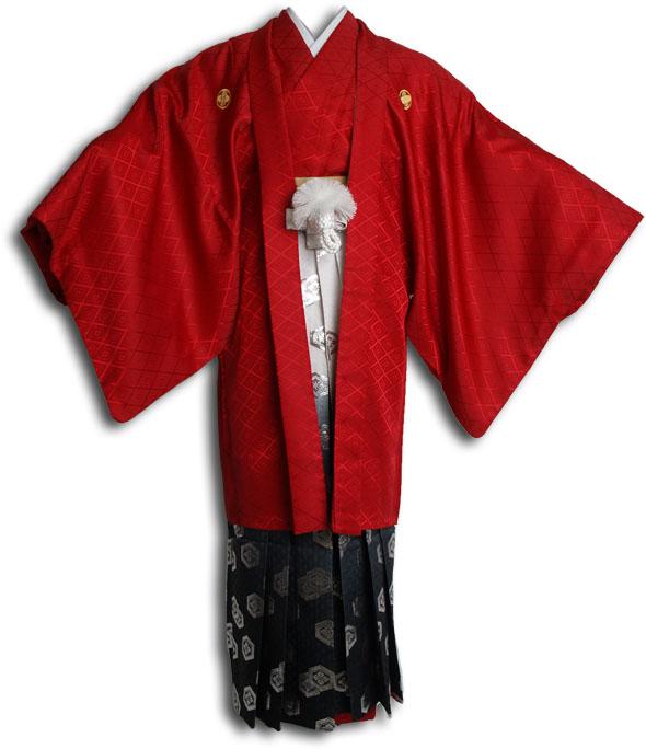  送料無料 【成人式・卒業式】男性用レンタル紋付き袴フルセット-6805