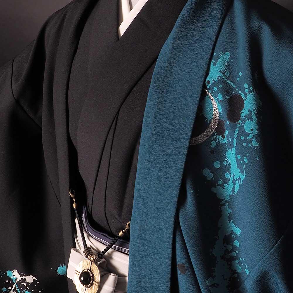 |送料無料|【成人式・卒業式】男性用レンタル羽織袴フルセット-7266