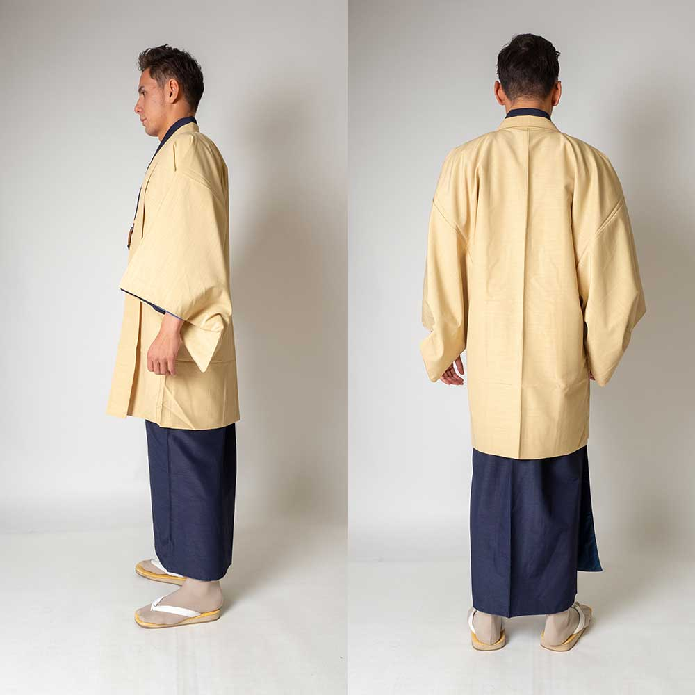 |送料無料|メンズ着物アンサンブル【対応身長165cm〜175cm】【 Mサイズ】フルセットー着物ネイビー×羽織アイボリー|往復送料無料|和服