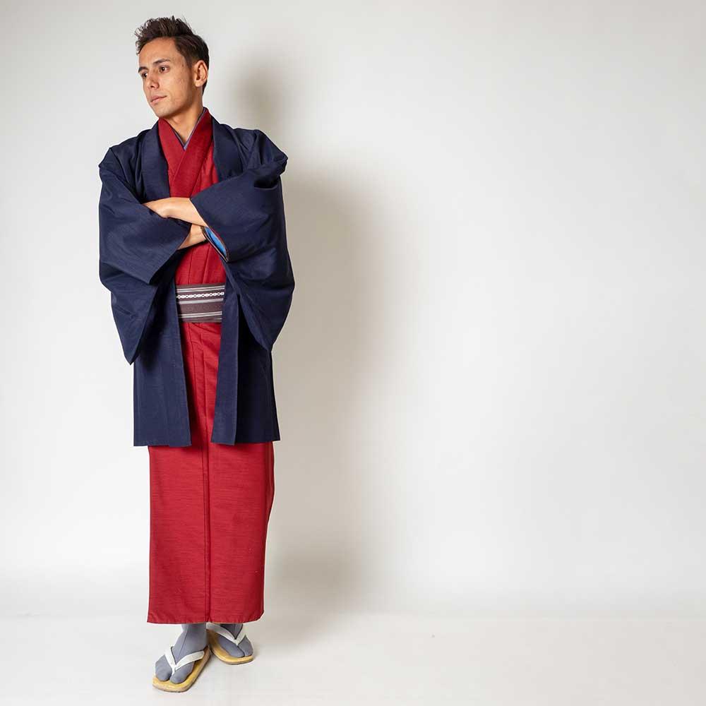 |送料無料|メンズ着物アンサンブル【対応身長165cm〜175cm】【 Mサイズ】フルセットー着物レッド×羽織ネイビー|往復送料無料|和服|お