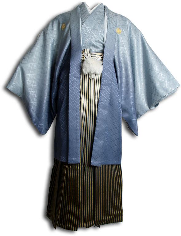  送料無料 【成人式・卒業式】男性用レンタル紋付き袴フルセット-6806