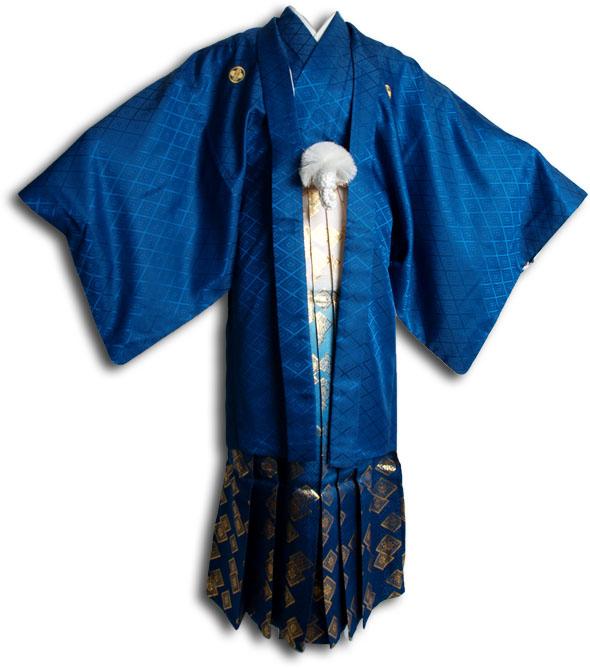 |送料無料|【成人式・卒業式】男性用レンタル紋付き袴フルセット-6807