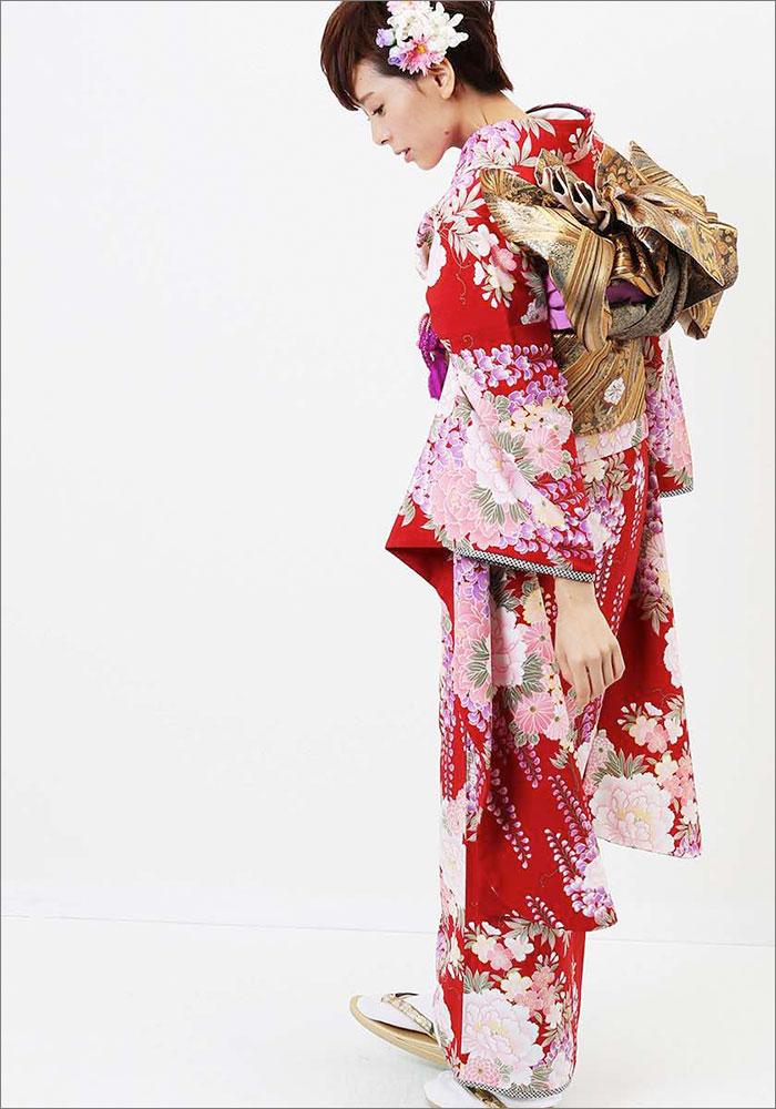 |送料無料|【レンタル】【成人式】 [安心の長期間レンタル]【対応身長155cm〜170cm】【合繊】レンタル振袖フルセット-253|花柄|レトロ|