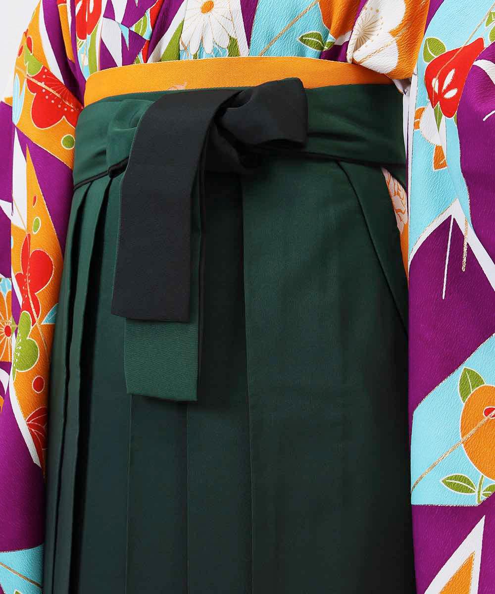 【h】 送料無料 【対応身長157cm〜165cm】【レトロ】卒業式レンタル袴フルセット-1078 マルチカラー 花柄 橘 矢絣 紫 緑 