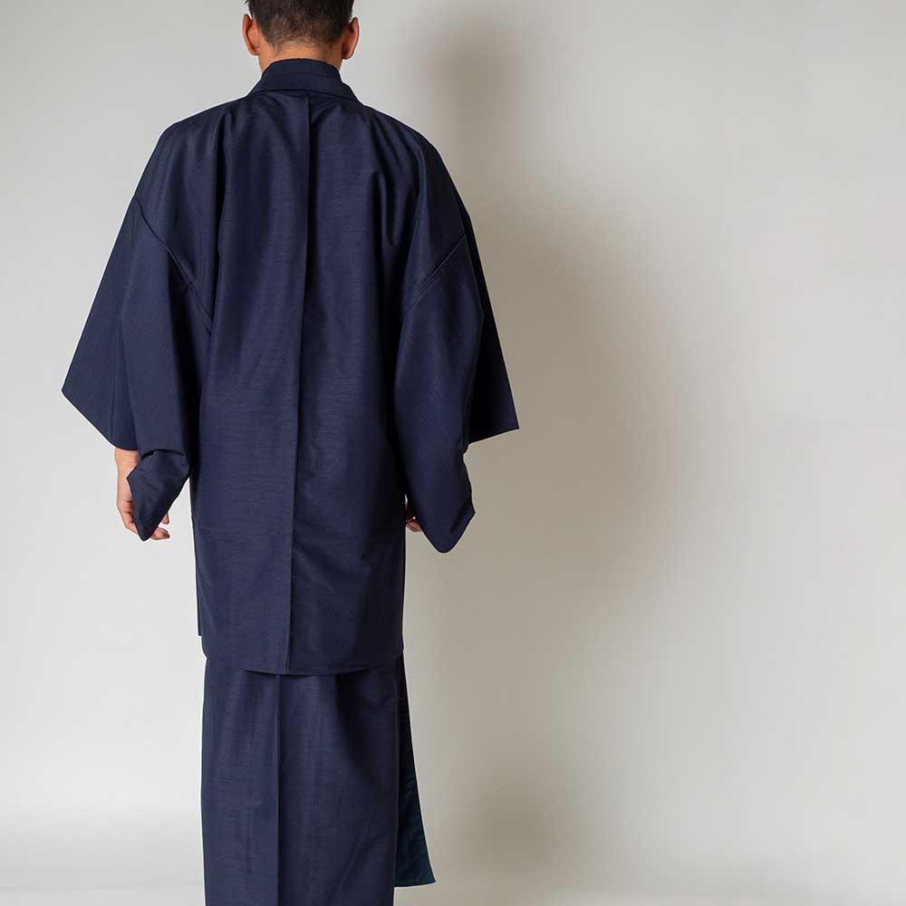 |送料無料|メンズ着物アンサンブル【対応身長175cm〜185cm】【 LLサイズ】フルセットー着物ネイビー×羽織ネイビー|往復送料無料|和服|