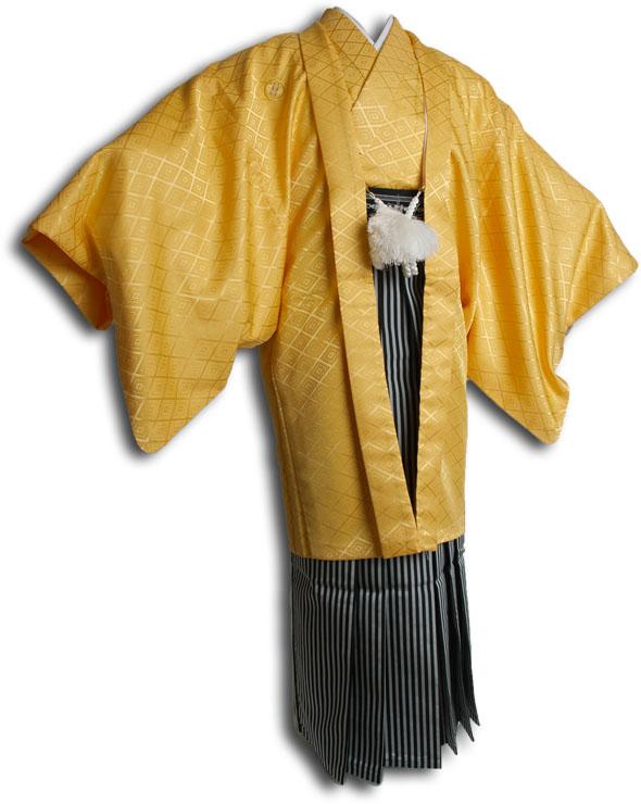  送料無料 【成人式・卒業式】男性用レンタル紋付き袴フルセット-6808