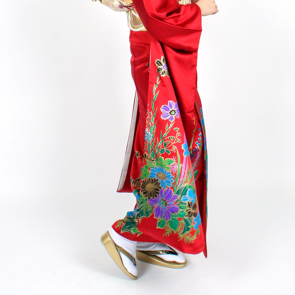 【成人式】 [安心の長期間レンタル]【対応身長165cm〜180cm】レンタル振袖フルセット-915|花柄|レトロ|クール系|ポップキュート|赤系|オレンジ系|緑系|洋花|蝶