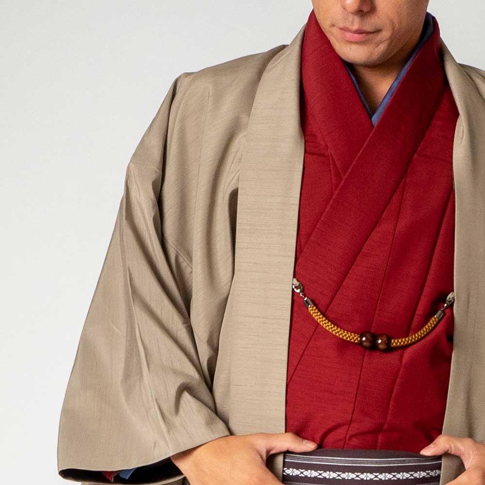 |送料無料|メンズ着物アンサンブル【対応身長180cm〜190cm】【 3Lサイズ】フルセットー着物レッド×羽織ベージュ|往復送料無料|和服|お